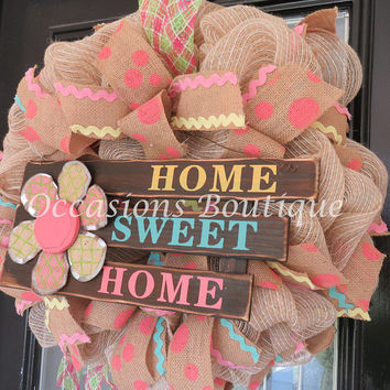 Burlap Wreath, Summer Wreath, Spring Wreath, Door Hanger, Wreath for door, Ready to Ship