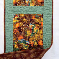 "Quilted Thanksgiving Turkey Table Runner / Table Topper / Mat / Tablecloth - 11-1/4"" wide x 37"" long - Fall - Green, Brown, Orange"