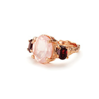 Dew Drop in the wild in Rose Quartz & Garnet in 18k Rose Gold plated Sterling Silver *Free Shipping*