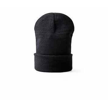 Autumn Winter Men Popular Knitting Wool Hat Solid Color Hip-hop Fashion Simple Beanies Skate Warm Hedging Cap