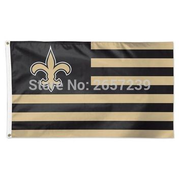 New Orleans Saints with Stripes Flag 3x5FT NFL banner 100D 150X90CM Polyester brass grommets custom66, Free Shipping