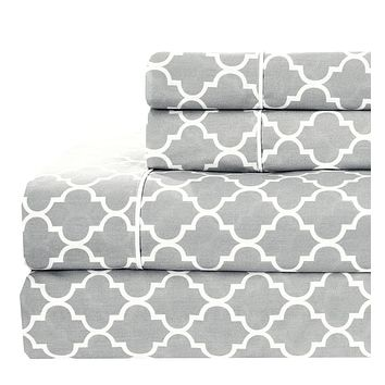 Twin XL Gray/White Printed Meridian Percale Sheets