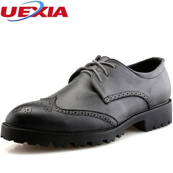 UEXIA Wedding Derby PU leather Shoes Men Pointed Toe Carving Brogue Rubber Soles Lace up Business Formal Dress Party Shoes Men