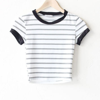 Striped Cropped Ringer Tee - White