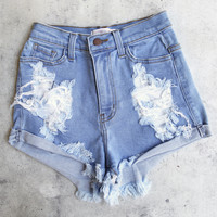 distressed high waist denim shorts - medium stone wash