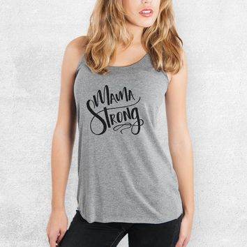 Mama Strong - Tri-Blend Racerback Tank