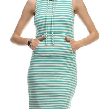 Mint Stripe Hoodie Dress