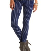 Cotton Polka Dot Printed Leggings by Charlotte Russe - Navy Blue