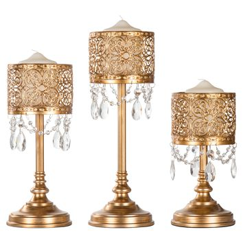 3-Piece Vintage Metal Hurricane Pillar Candle Holder Set (Gold)