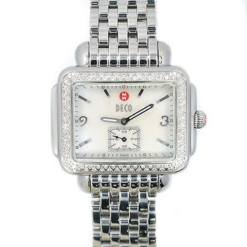 MICHELE DECO MW06C01 STAINLESS 0.50CT DIAMOND BEZEL MOP QUARTZ WOMENS WATCH