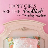 Happy Girls Are the Prettiest Audrey Hepburn Vinyl Wall Decal