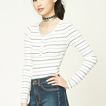 Striped Henley Bodysuit