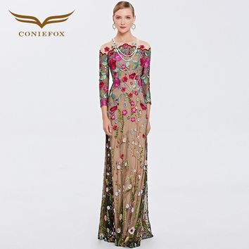 Coniefox 31389 Muslim Retro Prom Evening Dress Ladies Sexy Cap Sleeve Embroidered Dress for Party Lace Evening Gown Vestidos new