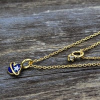 Golden Faux Diamond And Blue Moon Drop Multirow Necklace