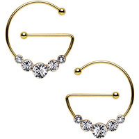 Clear Gold PVD Universal Nipple Ring Set Created with Swarovski Crystals