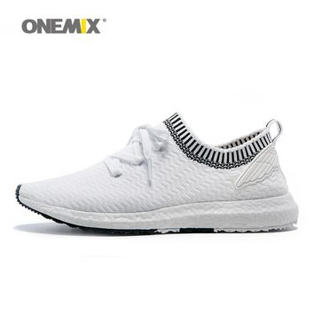 ONEMIX Angel and Devil Series of Running Shoes Men Wing Sport Sneakers Fitness Women Outdoor Trainers White Black Knitted Upper