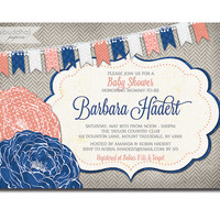 Baby Shower Invitation Coral Navy Blue Gray Rose Flower Bunting Pennant Invite DIY Printable or Printed - Barbara Style