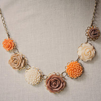 Handmade Autumn Fall Orange, Brown, Ivory, Tan Resin Rose Flower Bib Necklace on Antiqued Gold Chain