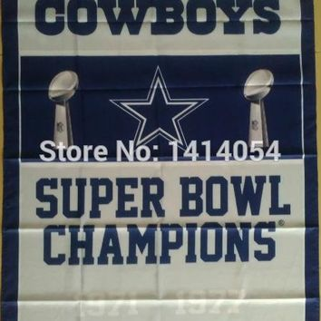 Dallas Cowboys Super Bowl Champions Flag 150X90CM Banner 100D Polyester3x5 FT flag brass grommets 001, free shipping