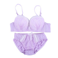Women Bras Push Up Bra and Panty Sets Girl Bowknot Lace Underwire Brassiere Underwear Outfit
