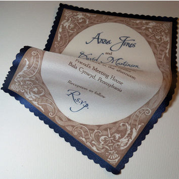 Elegant wedding invitation on silk fabric with vintage decorative frame - SAMPLE