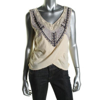 Free People Womens Juniors Criss-Cross Front Ruched Pullover Top