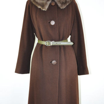60s cashmere swing coat / vintage chocolate brown coat / 1960s mink collar coat / Soft Whispers coat