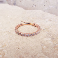 1.5 mm Rose Gold Plated half Eternity Ring High Quality CZ Diamond Ring Stacking Eternity Ring 1/2 Eternity Micro Pave Thin Wedding Band
