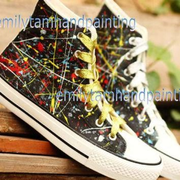 DCCKHD9 Graffiti Converse Sneakers,Custom Converse, Fashion Shoes in Punk Rock Style