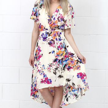 Watercolor Floral Surplice Wrap Dress {Fuchsia Mix}