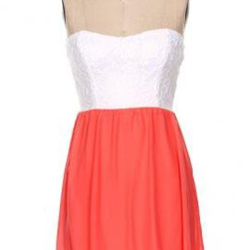 Summer Memories Lace Strapless Sweetheart Skater Dress in Coral | Sincerely Sweet Boutique
