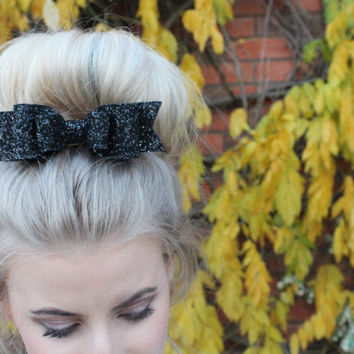 Girl and adult Oversized black glitter fabric bow hair clip - so sparkly and non shedding glitter!!