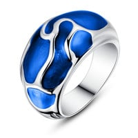 Stainless Steel Liquid Pattern Blue Epoxy Ring