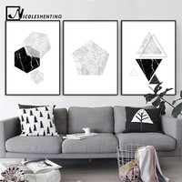 NICOLESHENTING Wall Art Canvas Posters Prints Minimalist Geometry Abstract Painting Nordic Style Wall Picture for Living Room