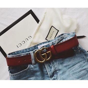 GUCCI Popular Woman Men Metal Smooth Buckle Belt With Gift Box I