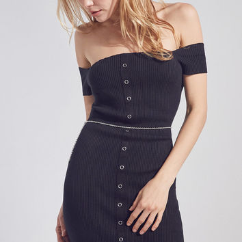 Silence + Noise Button-Down Off-The-Shoulder Dress   Urban Outfitters