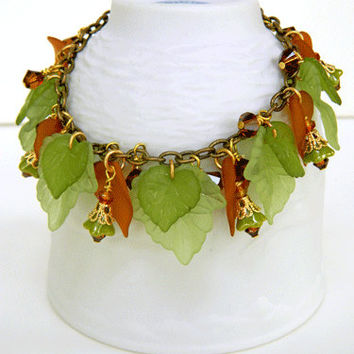 Green and Brown Fall Bracelet Handcrafted Lucite Leaves Crystal Jewelry