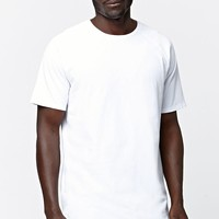 On The Byas Balboa Raglan Longline Crew T-Shirt - Mens Tee - White