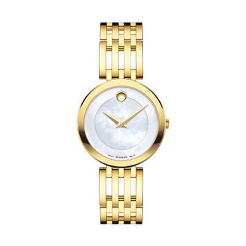 Movado Women's Esperanza Gold-Tone Stainless Watch with Mother of Pearl Museum Dial 0607054