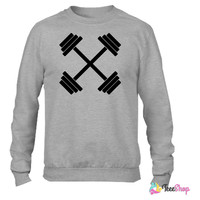 Gym Crossed Dumbbell Barbell Weight Athletics Crewneck sweatshirtt