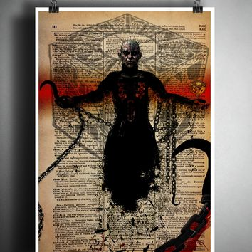 Pinhead, Hellraiser horror movie art, myths and monsters, creepy macabre art