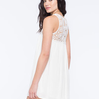 Full Tilt Crochet Top Dress Cream  In Sizes