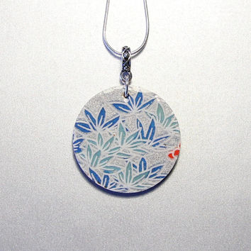 Round birch wood, silver blue washi paper pendant, Japanese necklace, Asian inspired jewelry, silver-plated 18 inch - featuring bamboo grass