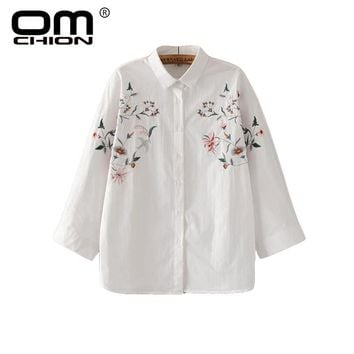 Floral Embroidery And LooseTurn Down Collar Tops