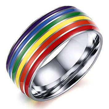 8mm Titanium Stainless Steel Rainbow Enamel Gay Lesbian Wedding Engagement Promise Band LGBT Pride Ring