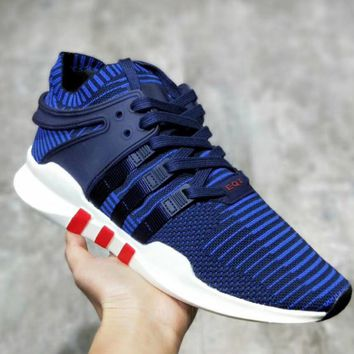 Adidas EQT Support Adv Knitted running shoes Women Men Fashion Sneakers B-MDTY-SHINING Blue