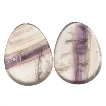 "1 1/16"" (27mm) Rainbow Fluorite Teardrop Stone Plugs #6141"