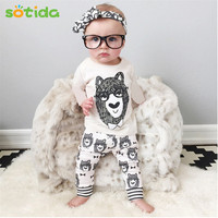 Baby clothing 2016Autumn Baby Girls Boys Clothing sets Monster Print Kids Clothes Long Sleeve Newborn Jumpsuits For Baby Rompers