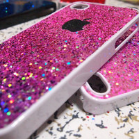 unique iphone 5 case iphone 4 case iphone 4s case designer iphone 5 case - pink glitter