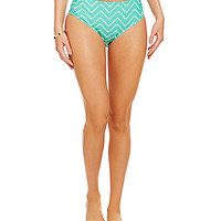 Alex Marie Mint Chevron-Print Shirred Swim Bottom - Mint